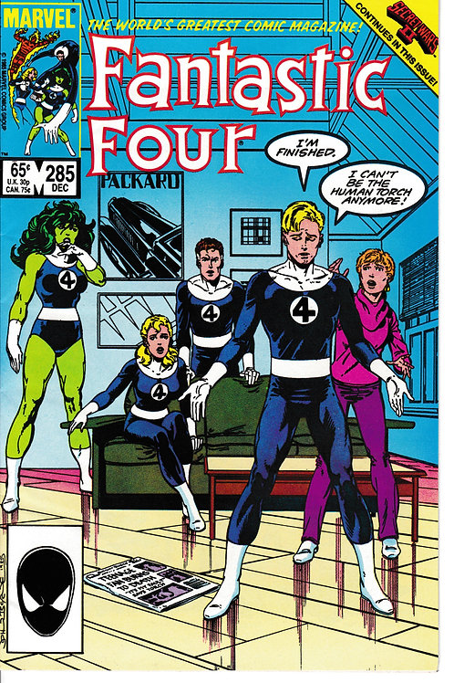 FANTASTIC FOUR 285 Jan 86 Avengers Cameo Story & Art Byrne Secret Wars 11