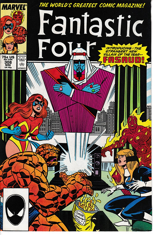 FANTASTIC FOUR 308 Nov 87 Marvel 1st Appearance Fasaud