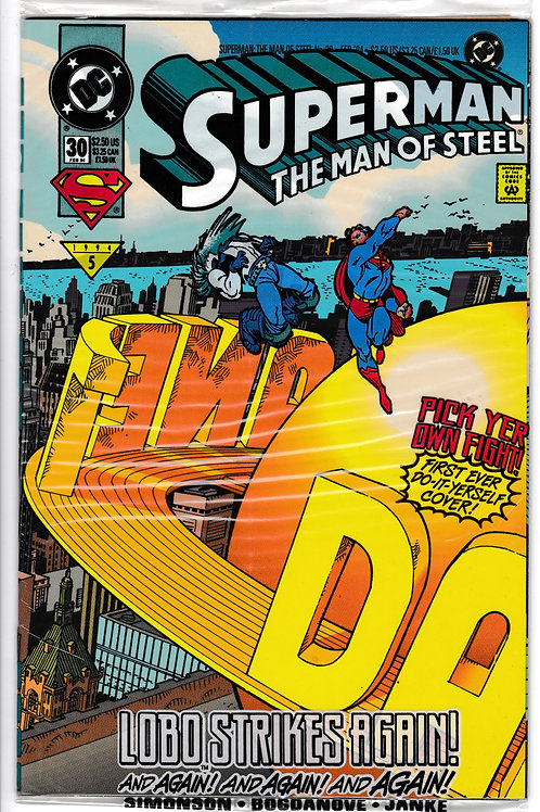 Superman The Man of Steel 30 DC Feb 94 Polybagged Lobo c/s