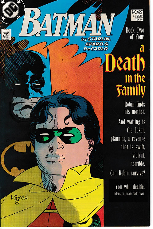 BATMAN 427 Jan 89 Batman a Death in the Family Book 2 of 4 Direct Market Ed