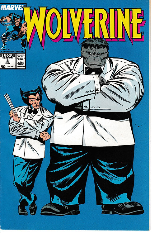 WOLVERINE 8 Marvel Jun 89 Classic Grey Hulk Cover Appearance