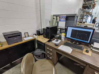 Office setup at machine shop