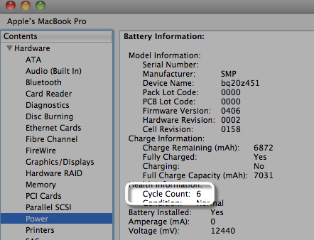 Mac Notebooks: Determining battery cycle count