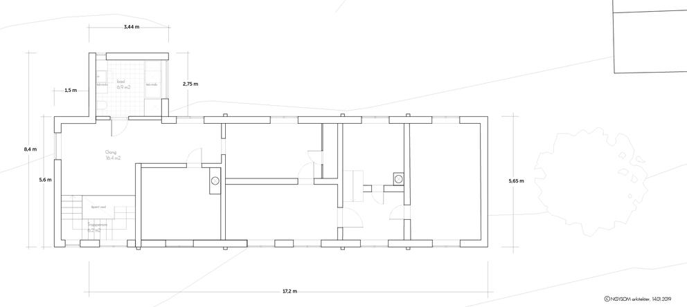 Tilbygg til trønderlån på Stadsbygd, plan andre etasje