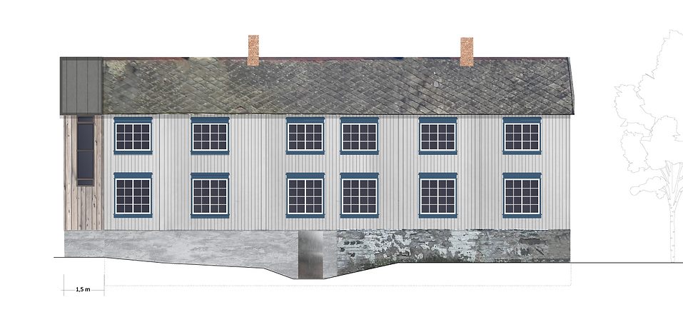 Tilbygg til trønderlån på Stadsbygd, fasade sør