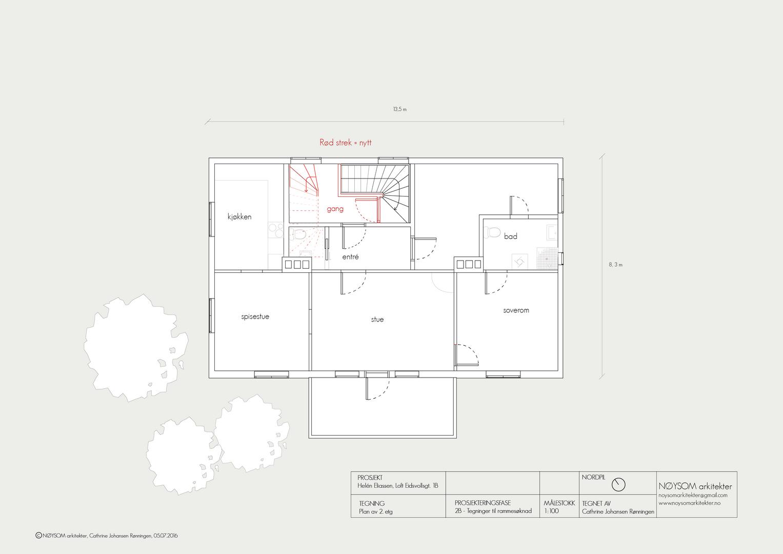 Ombygging av loft i Eidsvolls gate, plan 2. etasje