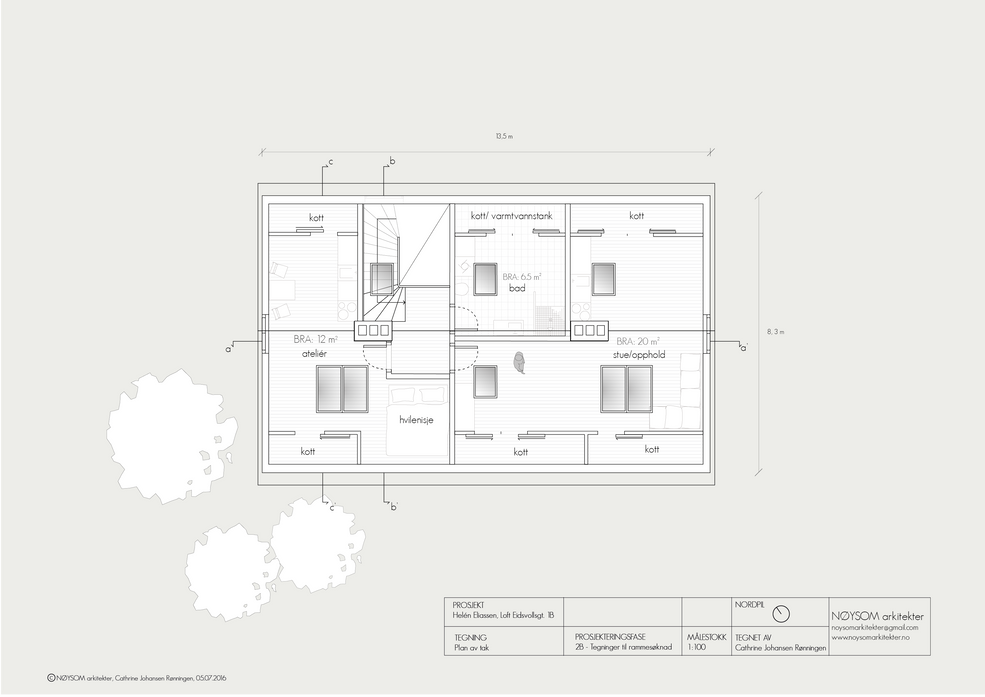 Ombygging av loft i Eidsvolls gate, plan loft med takvinduer