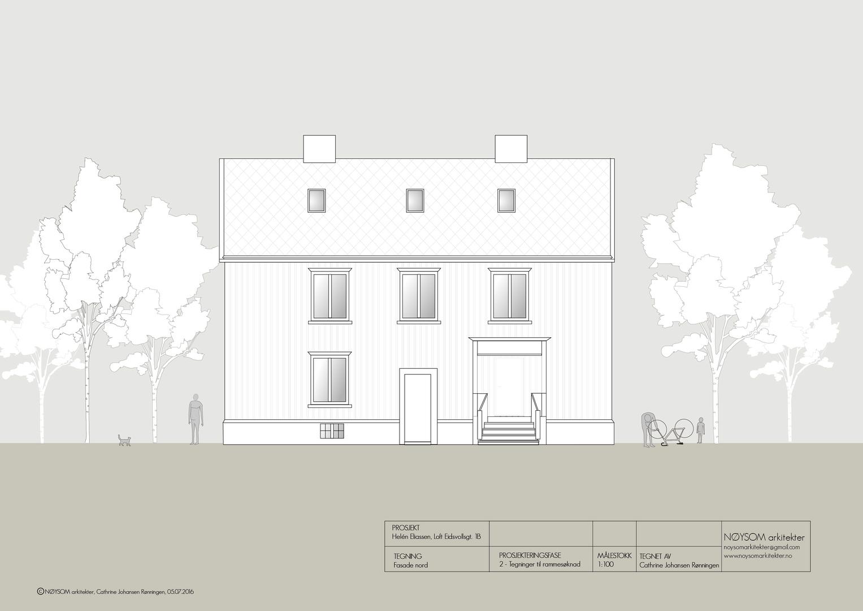 Ombygging av loft i Eidsvolls gate, fasade nord