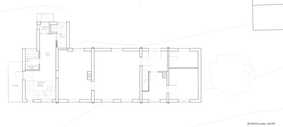 Tilbygg til trønderlån på Stadsbygd, plan første etasje