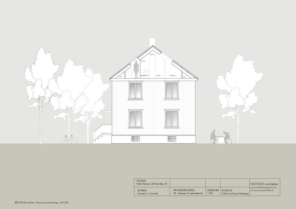 Ombygging av loft i Eidsvolls gate, kortsnitt c-c'
