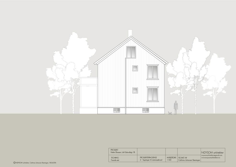Ombygging av loft i Eidsvolls gate, fasade øst