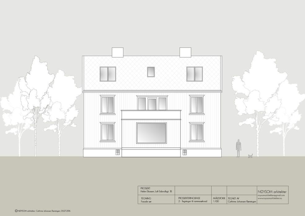 Ombygging av loft i Eidsvolls gate, fasade sør