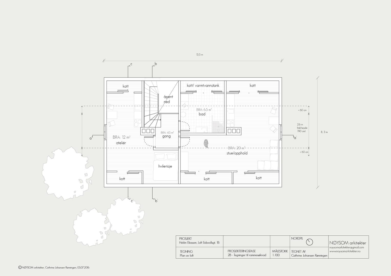 Ombygging av loft i Eidsvolls gate, plan loft