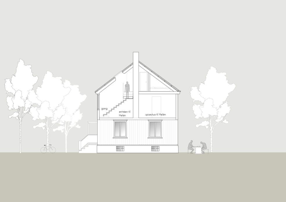 Ombygging av loft i Eidsvolls gate, trappesnitt b-b'