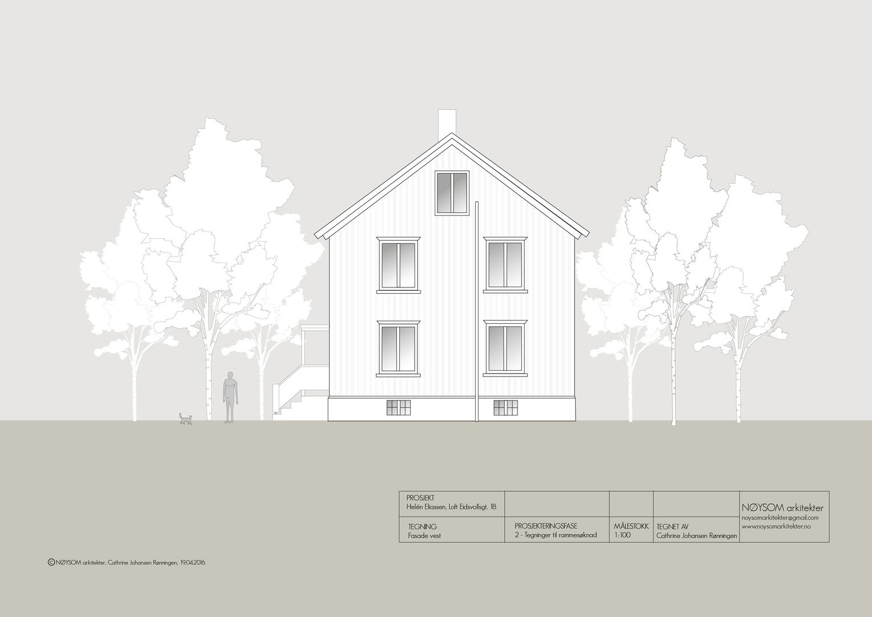 Ombygging av loft i Eidsvolls gate, fasade vest