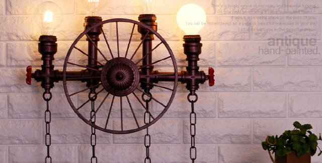 수도관 휠4등 벽등(엔틱)