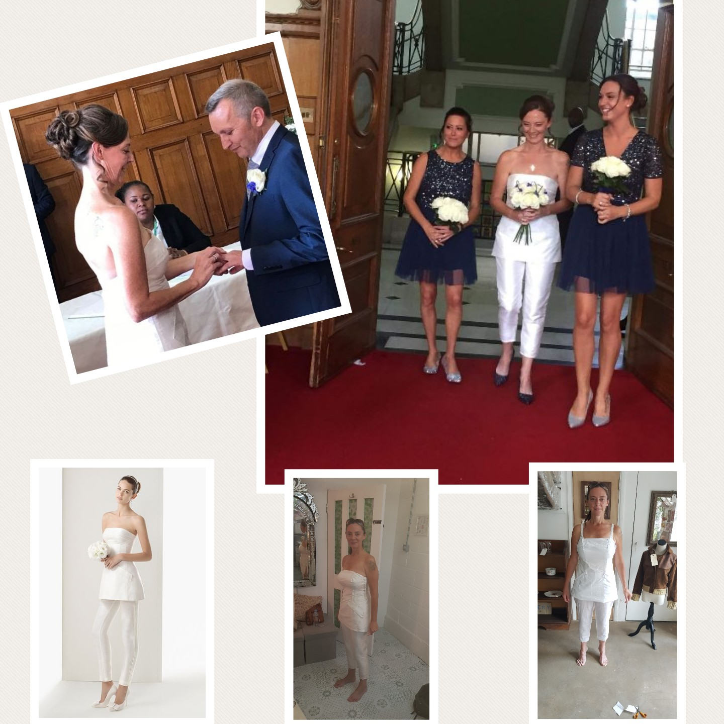 Bespoke Ivory 2pc silk wedding ensemble