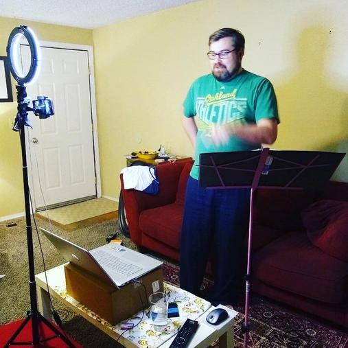 Matt Melton's distanced recording setup.