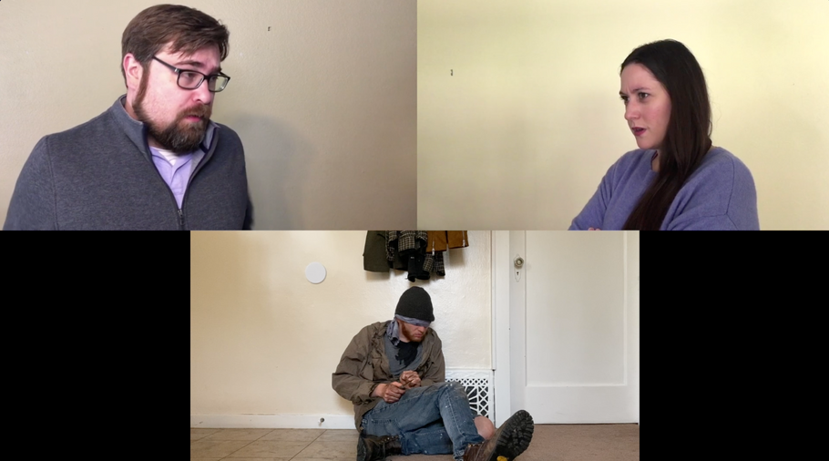 "Top left: Matthew Melton as ""Timothy,""  Top right: Catherine Richardson as ""Sloane."" Bottom: Dylan Eller as ""Old Blindy"""