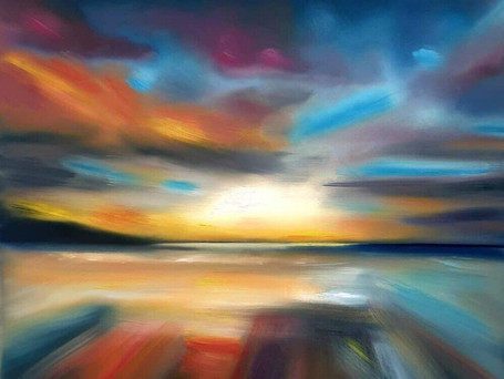 Lucy Keeble PrintWidemouth Bay at Sunset 40 x 40cm