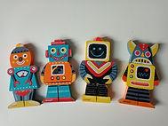 Jeu d'agencement de 4 robots en 3 parties
