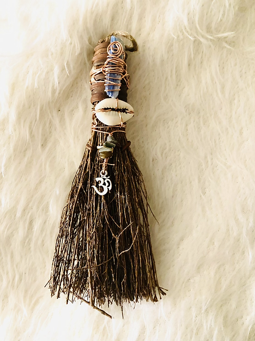 Cinnamon Broom Kyanite| Charged with Crystals & Copper