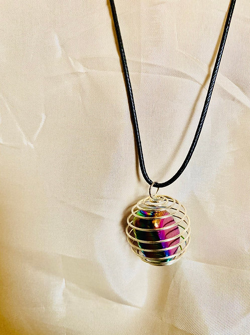 Rainbow Hematite|Single Silver Caged Stone