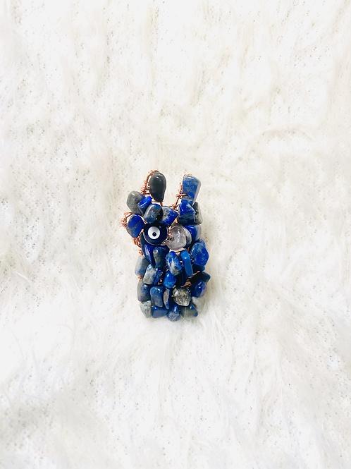 Lapis Lazuli w/Evil Eye Large Ring Sz 7