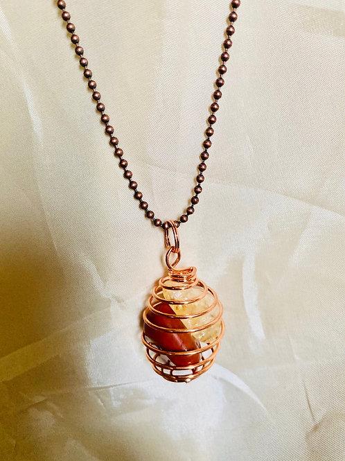 Double Copper Caged Stone| Red Jasper & Citrine