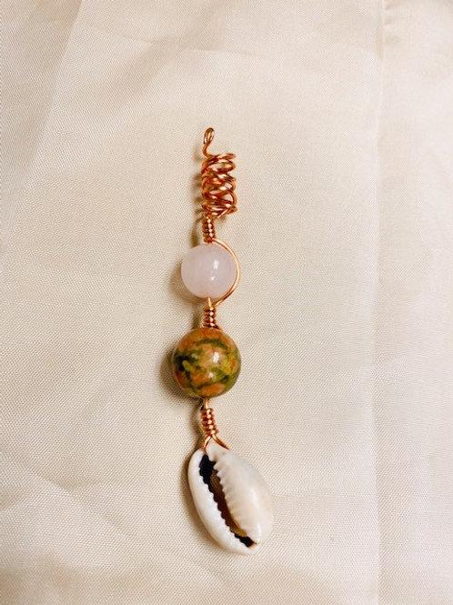 Hair Jewelry|Rose Quartz, Unakite & Cowrie Shell
