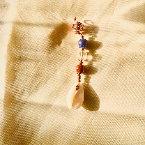 Hair Jewelry|Clear Quartz, Red Jasper, Sodalite with Cowrie Shell