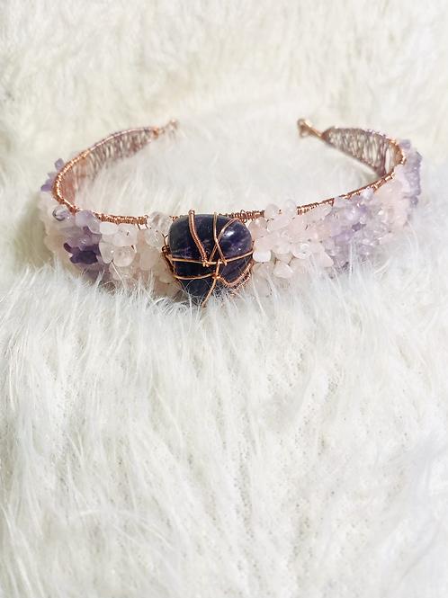 Amethyst & Rose Quartz HeadBand Crown (Third Eye & Heart)