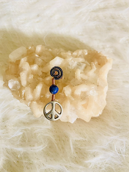 Hair Jewelry|Sodalite with Peace Charm