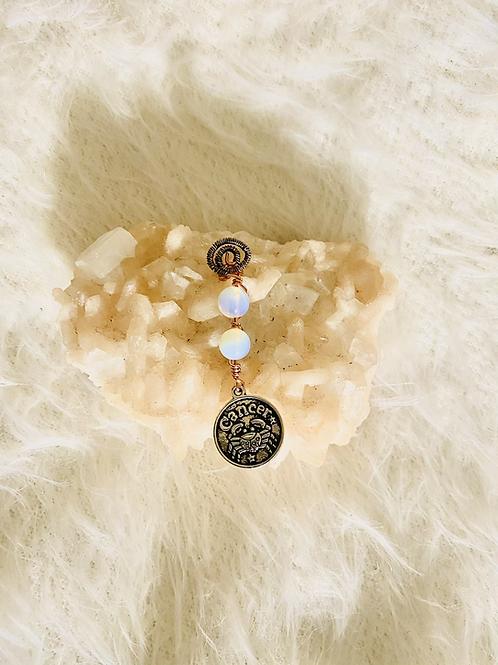Hair Jewelry|Moonstone Opal w/Cancer Charm