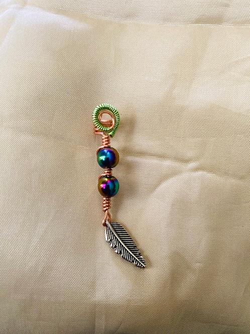 Hair Jewelry| Rainbow Hematite w/ Feather Charm