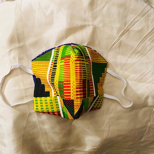Reusable Face Mask| Yellow African Print &Tan (Standard)