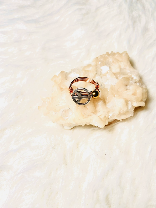 RINGS: Peace Charm w/Gold Hematite Copper Ring Size 7
