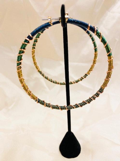 Multi Colored Large Copper Hoop Earrings