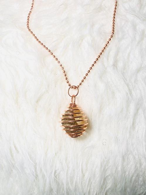 Pyrite & Citrine Spiral Copper Pendant