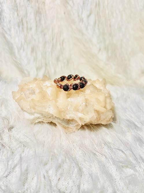 RINGS: Black Lava Rock w/ Copper Ring Size 10