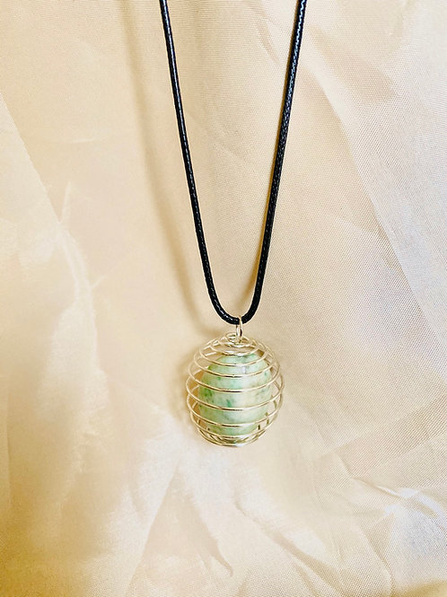 Single Silver Caged Stone| Chinese Jade