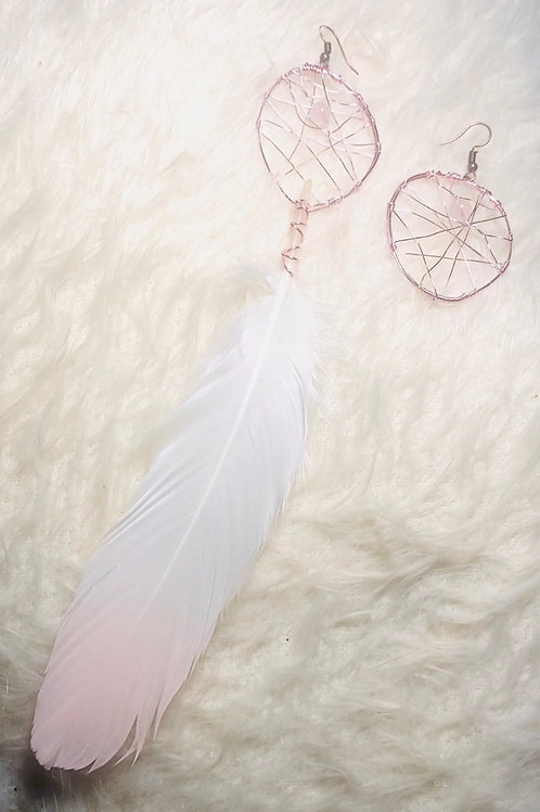 Rose Quartz Feather Dream Catcher Earrings