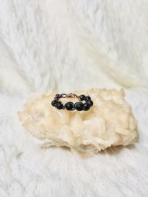 RINGS: Black Lava Rock w/ Hematite Copper Ring Size 10