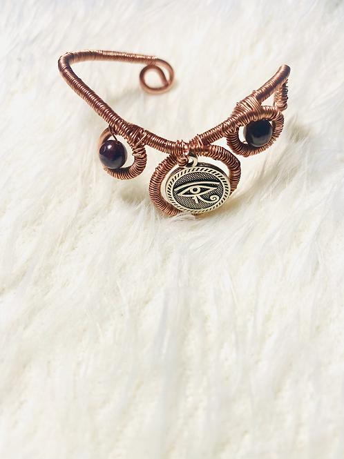 Eye of Heru w/Garnet Mini Copper Cuff Bracelet