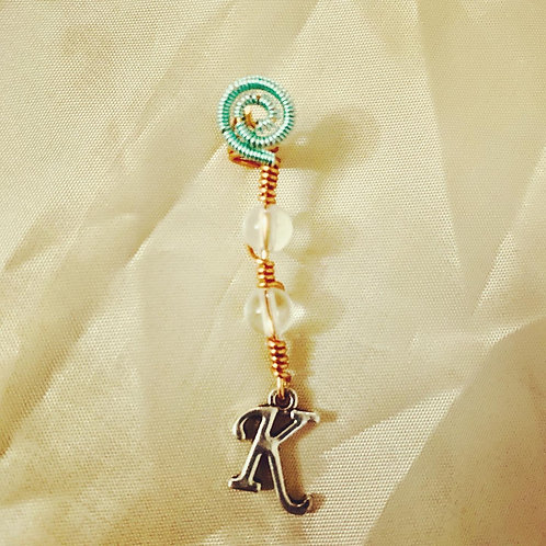 "Hair Jewelry| Clear Quartz w/ Letter ""K"""