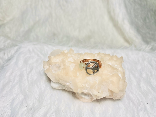 RINGS: Aventurine & Peace Charm Copper Ring Size 5