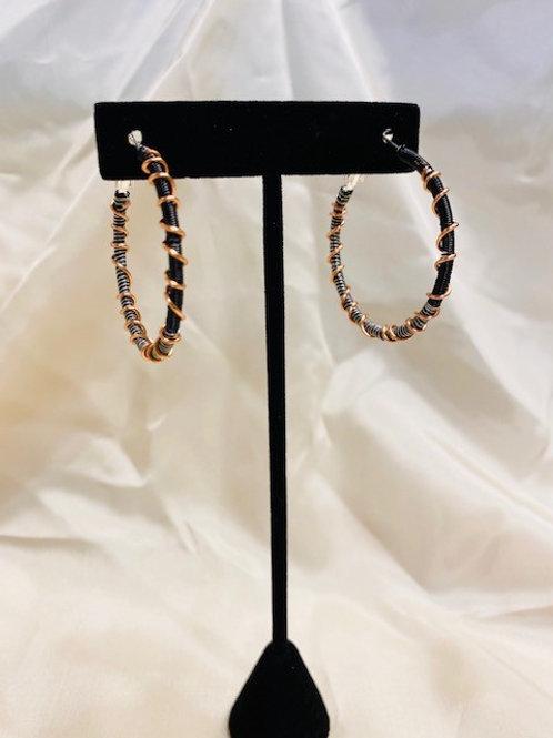 Medium Black & Silver Hoop Earrings