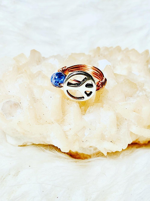 RINGS: Sodalite & Peace Charm Copper Ring Size 6