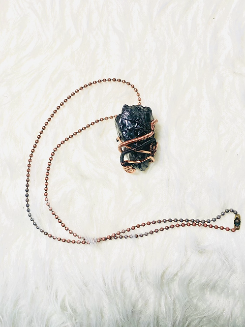 Black Tourmaline Pendant w/Black & Standard Copper