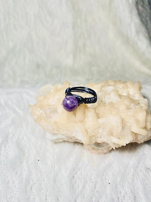 RINGS: Amethyst w/ Hematite Copper Ring Size 6